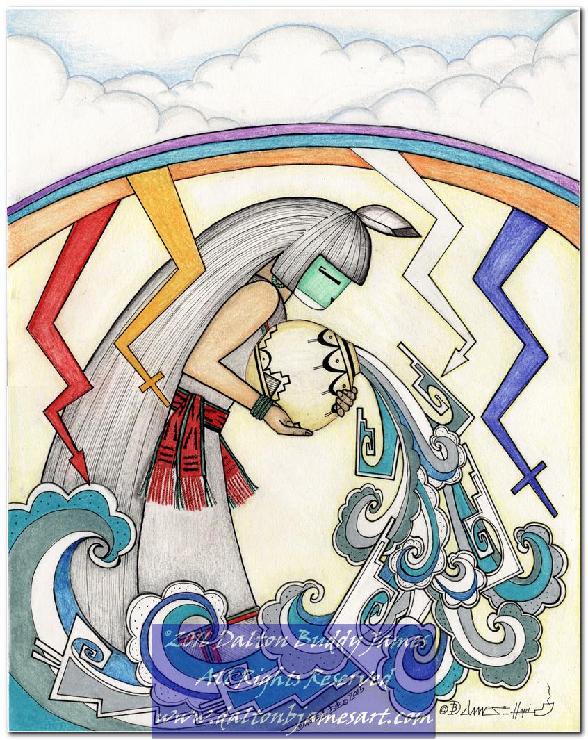 Colored Pencil – Hopi Art by Dalton B. James  Hopi Drawings